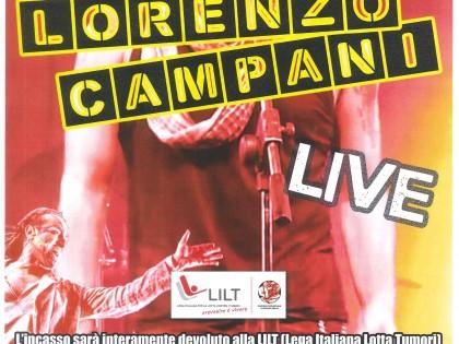 """16 settembre 2016 – Concerto di Lorenzo Campany Live di beneficenza per LILT-RE – """"SPILLO AVANTI TUTTA"""""""