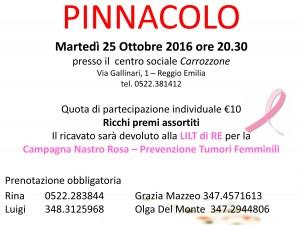 """25 ottobre 2016 – Torneo di pinnacolo """"NASTRO ROSA"""" – Centro sociale """"Il Carrozzone"""""""