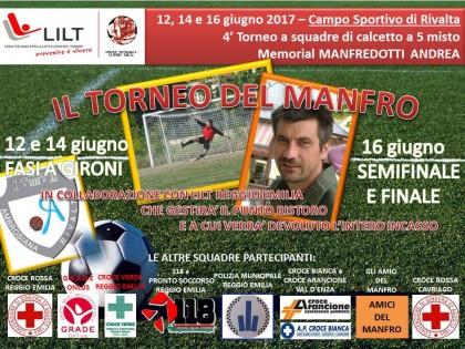 """12-14-16 Giugno 2017 – """"IL TORNEO DEL MANFRO"""" – Torneo di calcetto di beneficienza in memoria di MANFREDOTTI ANDREA"""