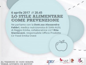"""06 aprile 2017 – Conferenza """"LO STILE ALIMENTARE COME PREVENZIONE – Circolo Arci Pigall"""