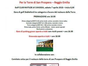 7 aprile 2018 – Iniziativa restauro Torre di San Prospero – Golf Club Matilde di Canossa
