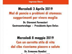 """8 maggio 2019 – Conferenza: """"Un corretto stile di vita, dal cibo riceviamo piacere e salute"""" – Centro sociale L.Spallanzani (RE)"""