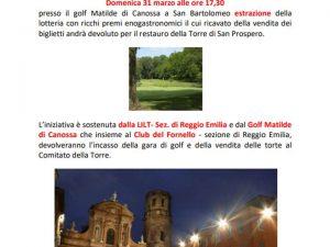 31 marzo 2019 – Lotteria a favore del restauro della Torre di San Prospero – Golf Club Matilde di Canossa (RE)
