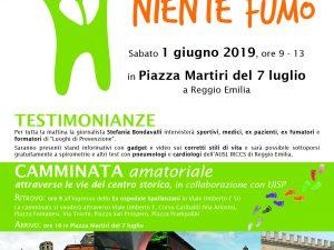 """1′ giugno 2019 – Manifestazione e camminata """"TUTTA VITA NIENTE FUMO"""" – Reggio Emilia (RE)"""