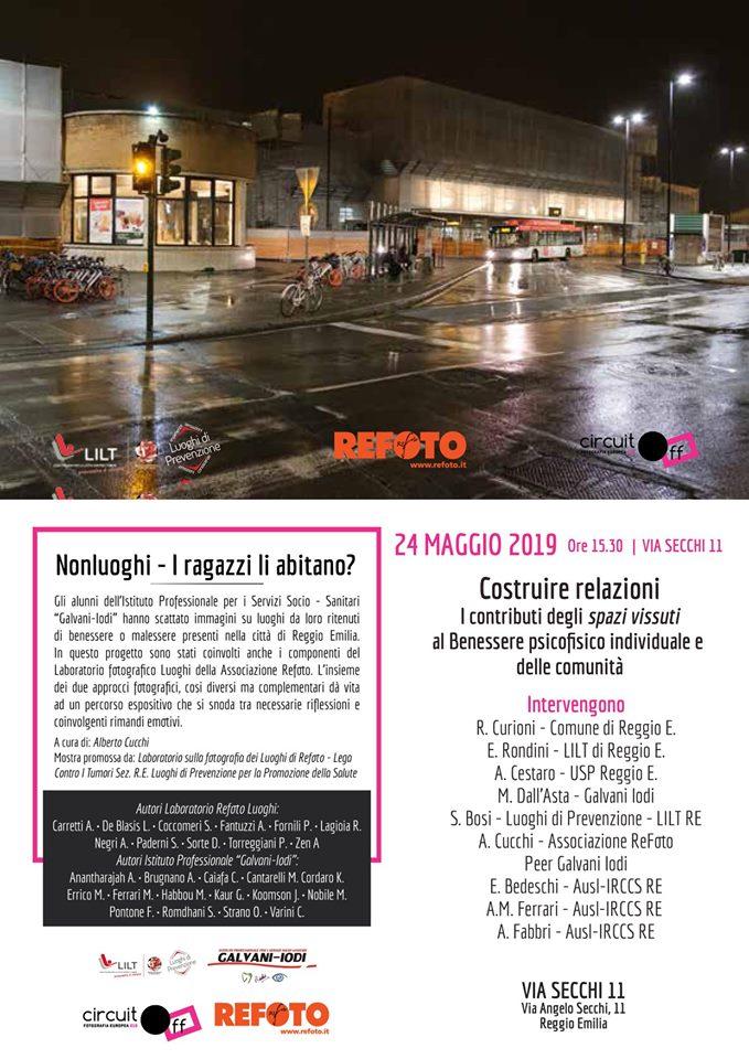"""24 maggio 2019 – """"Costruire relazioni: i contributi degli 'spazi vissuti' al benessere psicofisico individuale e delle comunità"""" – Via Secchi – Reggio E."""