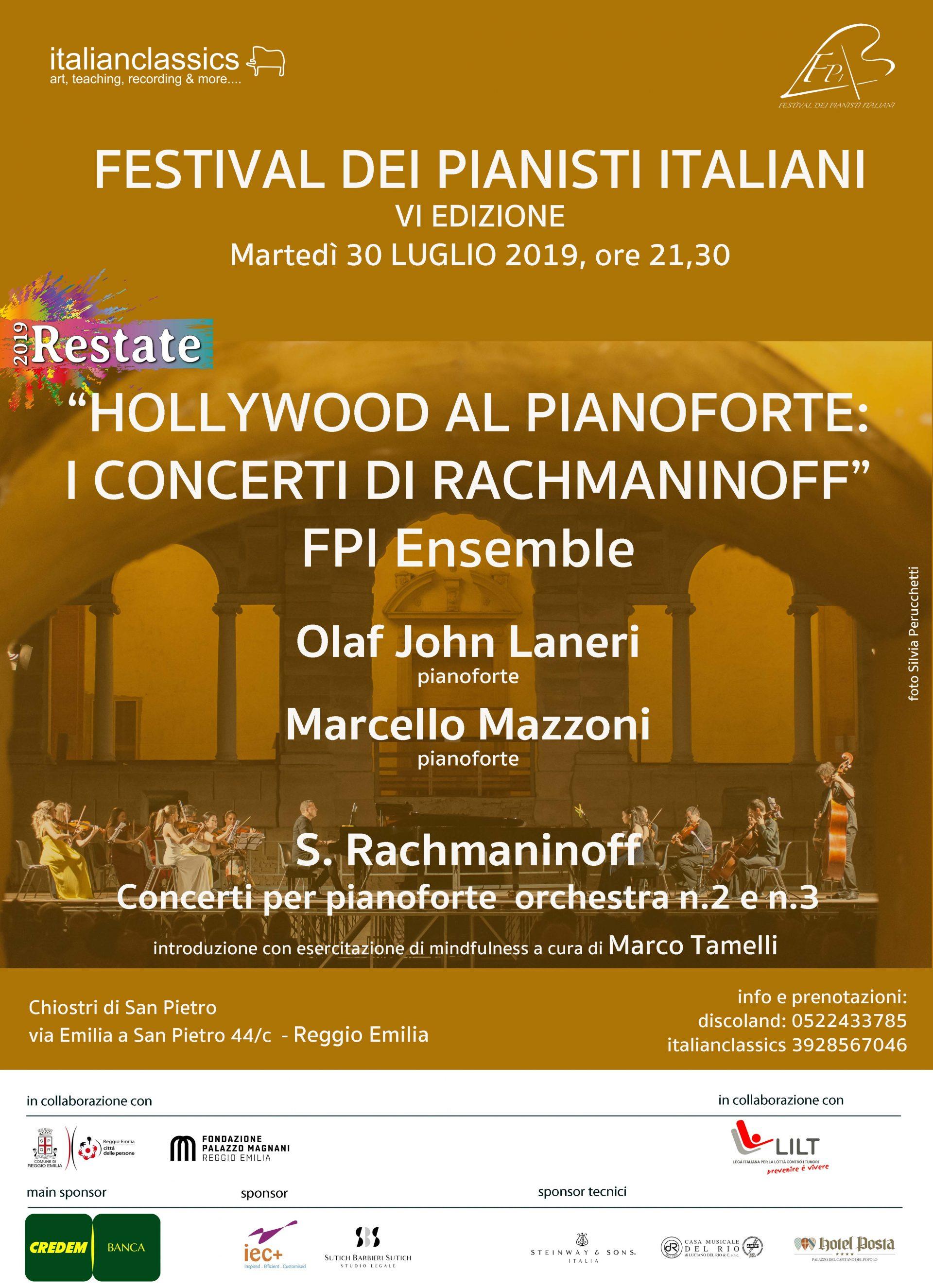 """30 luglio 2019 – Concerto """"Hollywood al pianoforte: I Concerti di Rachmaninoff"""" – Chiostri di San Pietro – Reggio Emilia (RE)"""