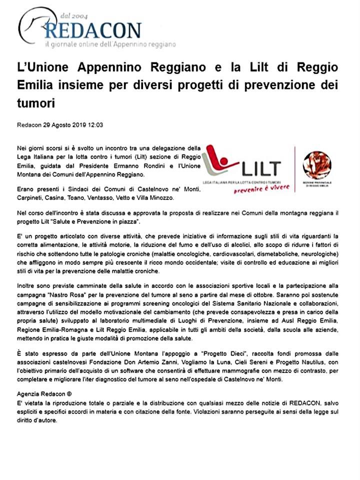 """Siglato l'accordo fra LILT Reggio Emilia e L'Unione dei Comuni della Montagna per il progetto """"Salute in Piazza"""""""