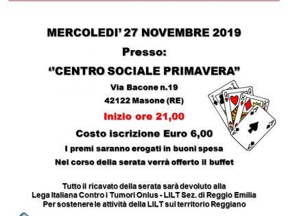 """27 novembre 2019 – PINNACOLO DI BENEFICENZA – Centro Sociale """"primavera"""" – Masone (RE)"""
