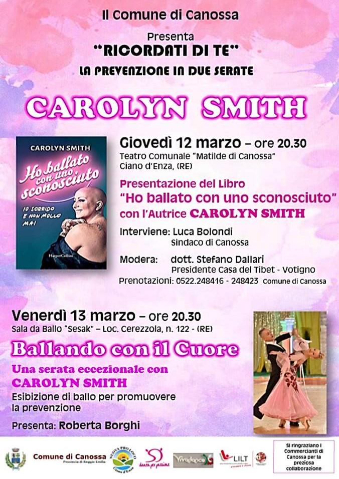 """""""RICORDATI DI TE"""" La Prevenzione in due serate – con CAROLYN SMITH – Comune di Canossa (RE)"""