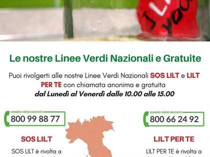 SOS LILT e LILT X TE: LInee Verdi Nazionali LILT per le domande dei cittadini in tempi di quarantena