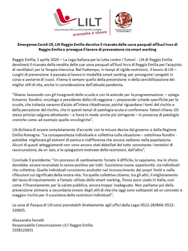 Emergenza Covid-19, Lilt Reggio Emilia devolve il ricavato delle uova pasquali all'Ausl Irccs di Reggio Emilia e prosegue il lavoro di prevenzione via smart working