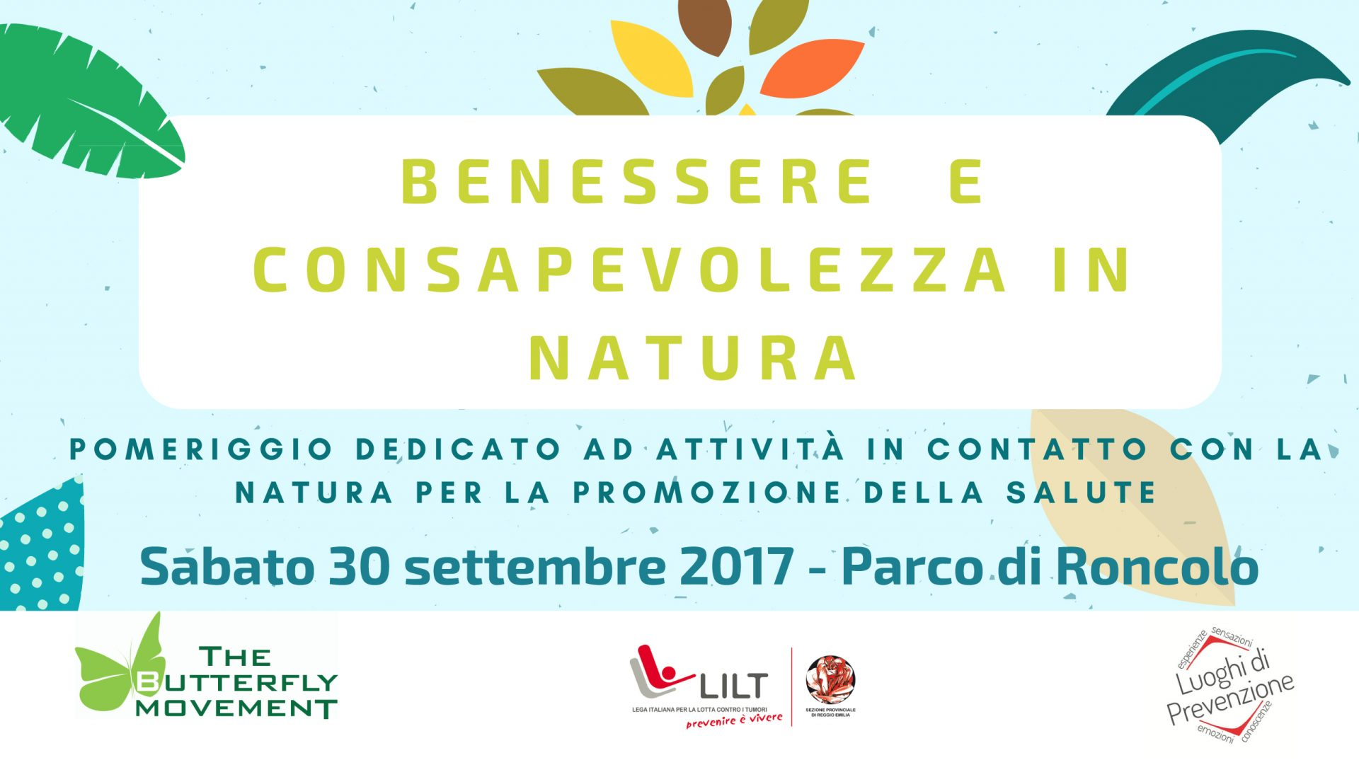 30 Settembre 2017 – Benessere e consapevolezza in Natura – Parco di Roncolo (RE)