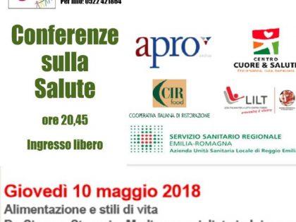 """10 maggio 2018 – Conferenza sulla salute: """"alimentazione e stili di vita"""" – Circolo ARCI """"Pigal"""" (RE)"""
