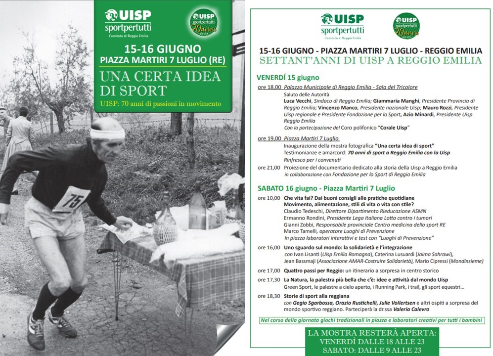 15-16 giugno 2018 – 70 anni di UISP – P.zza Prampolini – Reggio Emilia