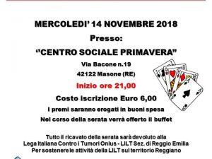 14 novembre 2018 – PINNACOLO DI BENEFICENZA – CENTRO SOCIALE PRIMAVERA – Masone (RE)