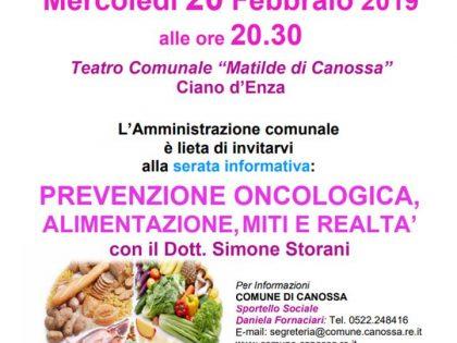 """20 gennaio 2019 – """"Prevenzione oncologica, alimentazione miti e realtà"""" – Teatro Comunale Ciano D'Enza (RE)"""