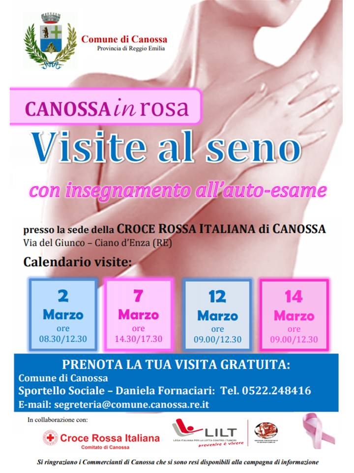 Calendario Visite al Seno – Canossa in Rosa – Comune di Canossa (RE)