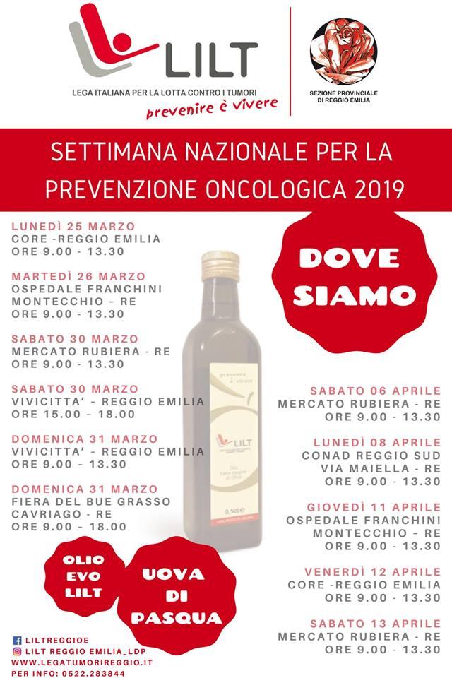 marzo – aprile 2019: le date e i luoghi dove fare offerte a sostegno di LILT Reggio Emilia