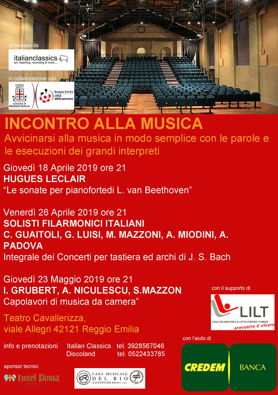 """Aprile-Maggio 2019 – """"INCONTRO ALLA MUSICA"""" – Teatro Cavallerizza (RE)"""