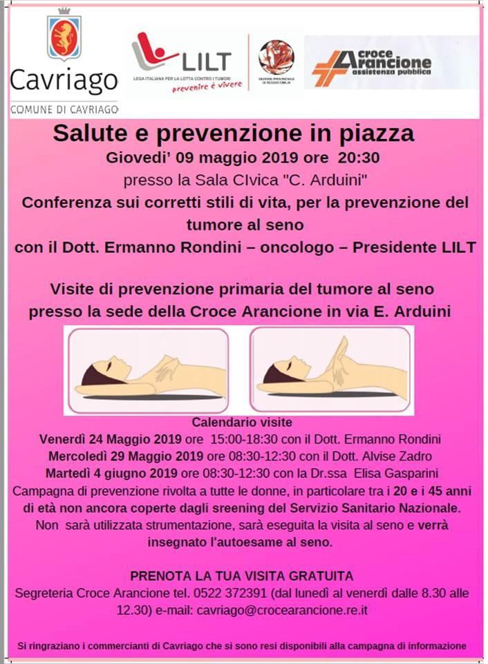 9 maggio 2019 – Conferenza Corretti Stili di Vita e Prevenzione Tumore al seno (compreso calendario visite di Prevenzione) – Cavriago (RE)